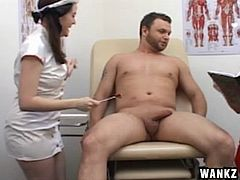 Erotic nurses revise a hand job guide as they administer the erotic act to their ailing stud