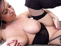 Milf with gigantic melons and hairless snatch is in heat in solo scene