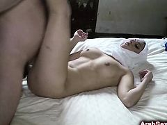 Lonely Arab woman spreads legs wide for big dick