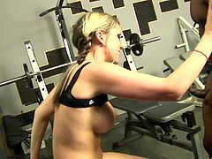 Gym session turns into a wild penetration for the sexy blonde