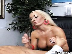 Blonde with giant jugs and clean snatch lets man put his fuck stick in her mouth