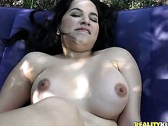 Teen sexy cutie with massive melons and smooth muff gets cum glazed on camera for your viewing pleasure