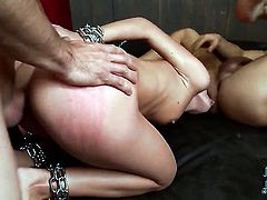With tiny tities and bald cunt loves the way guy fucks her butthole