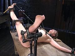 Torture practices are at home down in a horny guy's basement. His new victim: slutty Dahlia, just got fiercely restrained. Click to watch the merciless executor stuffing a kinky dildo down the naked bitch's throat, then deep in her shaved cunt. Have great fun!