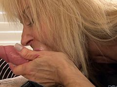 Erica Lauren was extremely happy with her daughter's choice and she also wanted to taste young Jake Taylor's big white cock. One day, she calmly entered the couple's bedroom, unzipped his pants and took that big cock in mouth. Her mouth really did the magic and he released his load soon.
