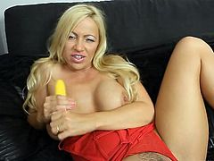 Lusty jerk off encouragement with dildo fucking fun