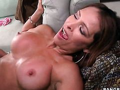 Brunette Monique Fuentes with bubbly booty is on the way to the height of pleasure with dudes rock solid meat stick in her hole