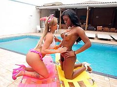 TS Superstar Carla Novaes is featured here having sex with ebony tranny Vivianne! This is a smoldering shemale on shemale scene, beachside! When it gets too hot, these smoking TGIRLS make it even hotter!