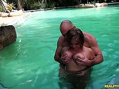 Blonde Ellie with big ass and bald muff gets her mouth stretched by dudes erect meat pole