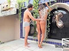 Tanlined tranny got her ass spunked