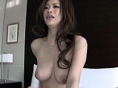 Sexy Asian babe gets a taste of a hard cock in her tight we