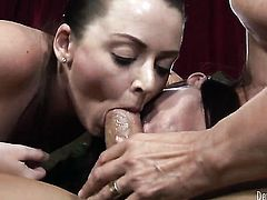 Brunette puts her luscious lips on hard man meat