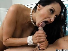 Tattoos Ava Addams with big jugs and clean bush takes cumshot on her pretty face