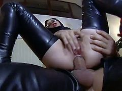 Amazing cowgirl in leather screaming as she gets drilled in her anal