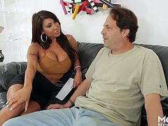 This horny mommy leaves Eric speechless. She's got such big boobs and a provocative attitude, that the man quickly gets turned on. Click to watch the versed brunette milf sucking dick with passion. Have fun and relax...