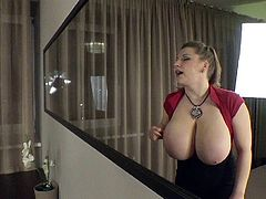 The camera catches some inciting close ups of Samanta's huge natural boobs. This blonde babe with lovely smile, enjoys to play with her fascinating tits in front of a large mirror. My opinion: she deserves an A+ for being so hot! Click to convince and have fun.