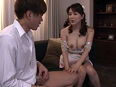 Sumire was with her son's friend and seduced him with her super sexy cleavage. She rubbed his cock on nipples and pressed it between her big boobs. She asked him to suck and squeeze her melons. After that, he drilled her pussy in missionary position.