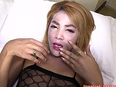 Horny ladyboy hooker Ning gives a rimjob first, then gets her ass bareback fucked and creampied. Ning wears a crotchless lingerie bodysuit giving full access to her swinging cock and juicy ass. She knows how to turn on a guy and make him satisfied.