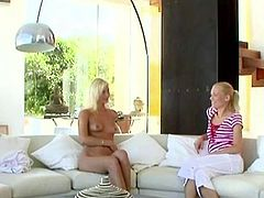 Blond bombshells Jenny and Keana check out if each others bushes are also blonde...