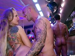 Tattooed guy with long thick cock drilling a shaved tight twat in various positions groupsex.