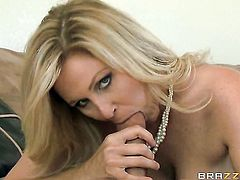 Milf Jessy Jones finds man handsome and takes his hard meat stick in her mouth