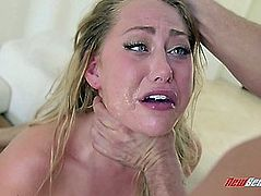 Golden-Haired Cowgirl Fingers Her Cum-Hole Then Group-Fucked Roughly