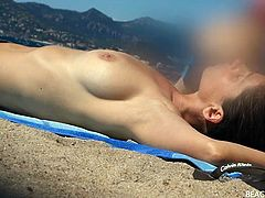 Slim ladies with sexy tits hang out in the sand