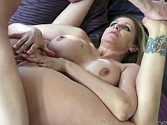 Lusty Julia Ann gives a rimjob after a good fucking
