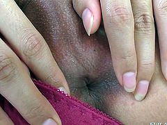 Sweet shemale Fany, flicks her nipples and plays with her small tits, as she beats off her hard meat. The precum is dripping out of her cock head and soon, she will shoot a warm load of sticky cum in her hand.