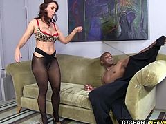 Janet Mason sucks and spits all over Mandingo's big black cock until her white pussy is next on the chopping block...