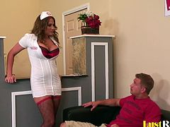 After seeing this beautiful nurse babe, this guy got an instant boner. She made sure to seduce him with her big knockers, after which they proceeded to bang until he covered her pretty face.
