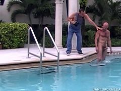 In this behind the scene footage, watch as Victor Cody films Breeding Cole Sexton, which was released earlier in 2016. Cole Sexton is eager to have his hole bareback fucked by Chad Brock, who takes full advantage of Coles round and meaty ass. Chad bends him over the pool ladder and slides his tongue in deep. When Brocks dick can no longer stand the lack of attention he stuffs it into Coles mouth, before pushing it up his well rimmed asshole.
