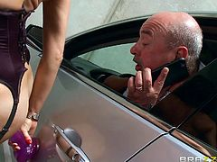 From the first look I decided, that she is a typical crazy nympho, but later, I recognized that this is world known porn star Veronica Avluv. She was in stockings and corset, but without panties, fucking the dildo, attached to the car door. Oh my god! Her huge tits woke my monster dick up. Have fun!