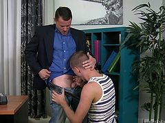 My boss Max Cameron, is interested in males and I have to obey his orders, to keep my job. One day, he undressed me in the office room and ordered to suck his cock, and I obliged. Then, to my surprise, he removed my boxers, took my cock in his mouth and sucked my tool passionately, to make me happy.