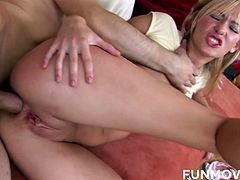 Skinny chick with petite anus and pussy gets fucked hard