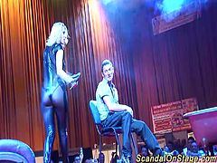 incredible hot oiled ass busty babe doing lapdance on public european sexfair stage