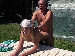 Horny young blonde rather fucks old gardener than working. After a slutty blowjob, balls licking, in doggy style she takes a deep outdoor fucking until cumhot fills her mouth!