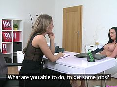 From the first minute of Anny's interview, I decided to show her the shortest way to the fame. I simply like such innocent girls, with big plans for the future and totally inexperienced. I explained her, that she will get a good role easily, if she will satisfy my already wet pussy... Her tongue feels so good deep in my hole