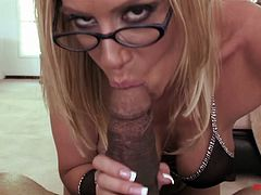 BBC enjoys watching how Kylie G Worthy blows his huge balck dick on a pov camera