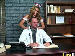 This girl is so pretty, that she could probably seduce anyone. After seeing how hot the lead doctor is, incredible Charisma Capelli decided to use her amazing body to seduce and ride his throbbing cock until he cums hard.
