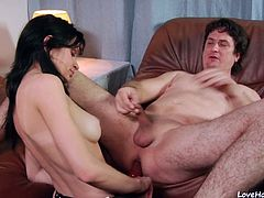 After all this time, the black haired senorita finally agreed to give her beloved partner something that he always wanted to experience. Now, he finally knows how it feels to be drilled directly into the anus.
