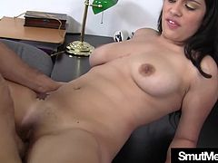 Cock hungry brunette girl makes a guy fuck her hard in many positions and makes him cum in her mouth in exchange for giving him a signature