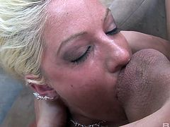 Lusty gal Tricia Oaks takes giant dong in her bottomless throat