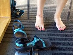 Candid College Girl with Pretty Pink Toes