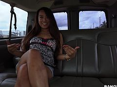When we picked this slender Asian babe on the roadside, we said, that we only want to see her tits, but we lied, we wanted much more... So, when our guy took his huge dick out of his pants, she was simply frightened by its size, but there was no way back. Watch Sasha sucking this huge penis on knees, in bang bus. Have fun!