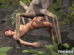 Boner inducing 3D cartoon redhead hottie getting her pussy pounded outdoors by an alien spider