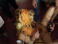 In this restaurant they always bring spaghetti with sausage, no matter what you asked for. It became a revelation for Chiki and now, surrounded with the crowd of strangers, she will suck Nick's hard long sausage. And of course, let's not forget the spaghetti! Relax and have fun!