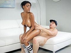 Busty ebony cheerleader deals white cock in hard modes