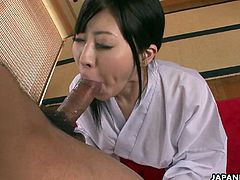 Oriental and traditional as she gets to suck down that beautiful long cock with her tender warm lips and her tongue twirls that are driving the dude crazy. She is a master of the blowjob.