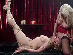 When some days ago I said, that I would like to experience bdsm pleasures, my girlfriend Lorelei, promised, that she will eagerly do it for me. So, today I'm lying here, totally naked, tied and helpless, but horny as hell. She whips me with a leather knout and penetrates me with a strapon, and this is just the beginning.